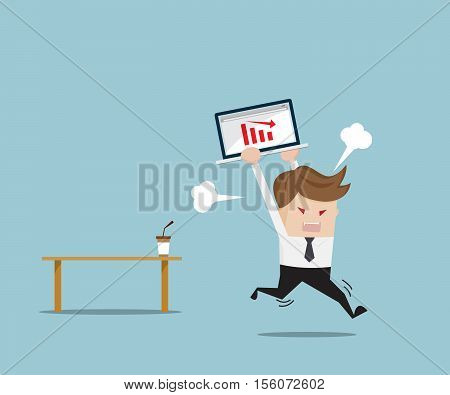 Businessman Angry and Destroy his Laptop with Red Down Graph Business Concept Cartoon Vector Illustration