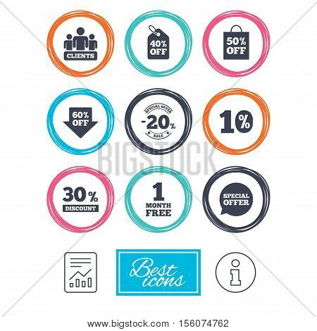 Sale discounts icon. Shopping, clients and speech bubble signs. 20, 30, 40 and 50 percent off. Special offer symbols. Report document, information icons. Vector