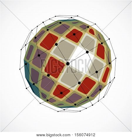 3D Vector Low Poly Spherical Object With Black Connected Lines And Dots, Geometric Colorful Wirefram