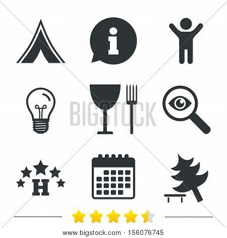 Food, hotel, camping tent and tree icons. Wineglass and fork. Break down tree. Road signs. Information, light bulb and calendar icons. Investigate magnifier. Vector
