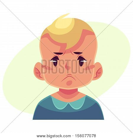 Little boy face, angry facial expression, cartoon vector illustrations isolated on yellow background. Blond male kid emoji face, feeling distressed, frustrated, sullen, upset. Angry face expression