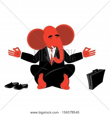 Red Elephant Republican Meditating. Symbol Of  Usa Political Parties. Illustration For Presidential