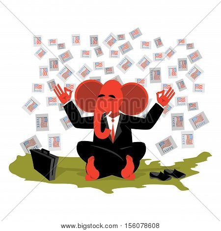 Red Elephant Republican Meditates Votes In Usa Map. Symbol Of United States  Political Parties. Illu