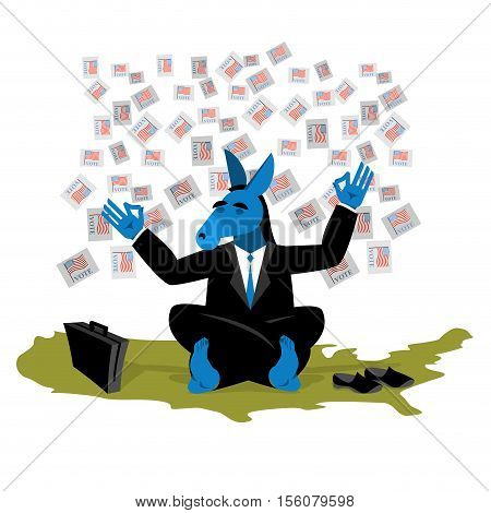 Blue Donkey Democrat Meditates To Vote In Elections On Usa Map. Symbol Of United States Political Pa