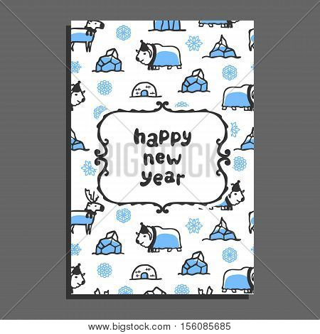 Happy new year card template with cute cartoon reindeer and musk-ox. Vector doodle arctic animals, snowflakes, igloo