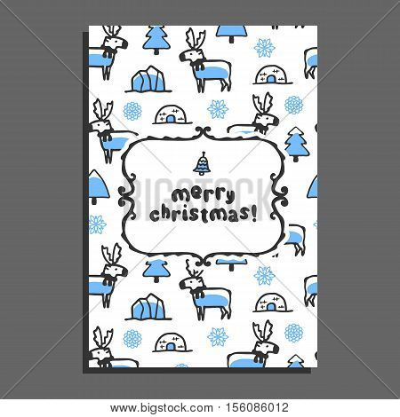 Merry christmas greeting card with cute cartoon reindeer. Vector doodle caribou, and icebergs. Arctic animal wears scarf