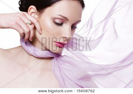 Beautiful woman with pearl ring