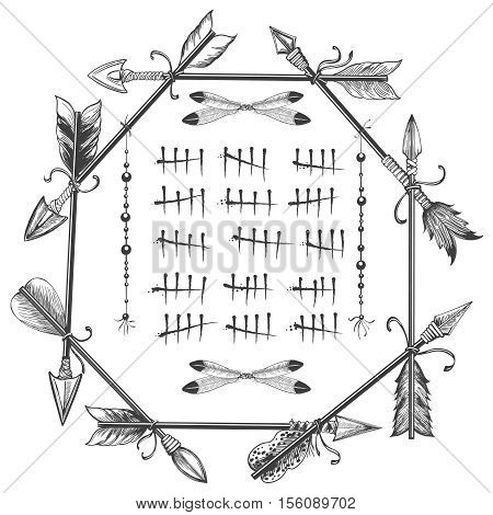 Waiting couting tally numbers in arrows and feathers frame isolated on white. Vector illustration