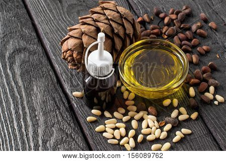 Nuts (seeds) cone food and cosmetic oil of Siberian pine (Pinus sibirica). It is used in dietary and healthy nutrition cosmetics skin care. The source of vitamins and polyunsaturated fatty acids