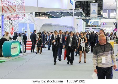 St. Petersburg, Russia - 4 October, A crowd of business people at Gas Forum, 4 October, 2016. Petersburg Gas Forum which takes place in Expoforum.