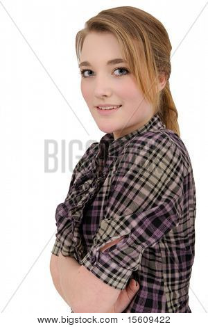 Portrait of a beautiful young girl isolated on a white background