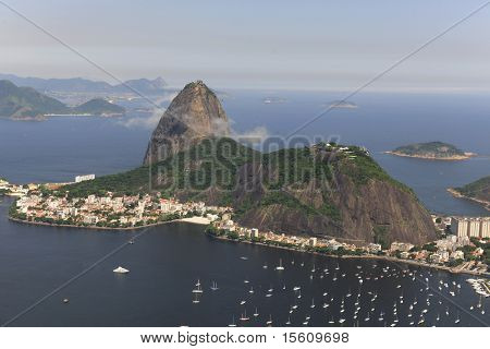 Aerial view of Sugar Loaf in Rio de Janeiro Brazil