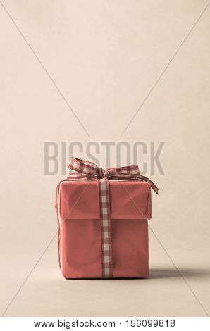 Retro Style Gift Box With Gingham Ribbon Bow