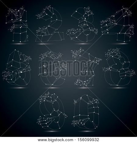 Set of 3d vector low poly monochrome numbers with white connected lines and dots geometric wireframe luminescent font with fragments. Perspective shattered numeration with thread.