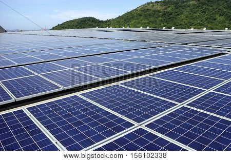 Solar PV Rooftop System with Mountain Background