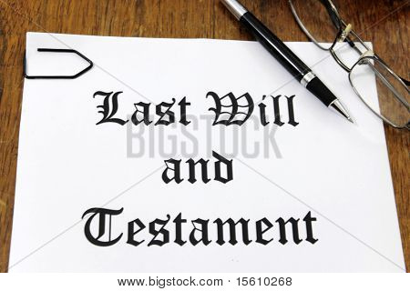 Last Will and Testament on a wooden desk