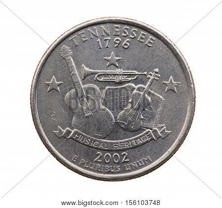 photographed close-up on white background coin dollar American quarter - twenty-five cents, Tennessee
