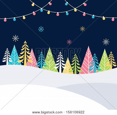 Christmas and Winter Holidays Events Festive Background with Snow, Trees and Christmas Lights. Vector Poster Flat Template