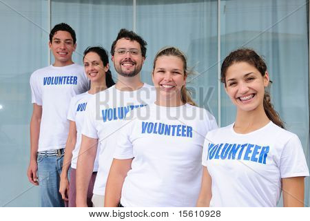 portrait of a happy and diverse volunteer group