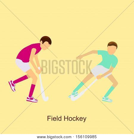Sport people activities icon field hockey isolated. 2016 Summer Games in modern flat design. Sporting Championship International Competition. Vector Illustration eps10