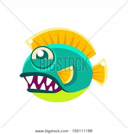 Agressive Round Turquoise Fantastic Aquarium Tropical Fish With Big Teeth Cartoon Character. Fantasy Warm Water Aquatic Life And Marine Fish Collection Element.