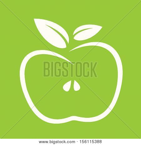 Apple Eco Green Sign - Eco Apple Mordern Abstract For Logos, Banners, Templates, Internet Web Sites - Flat Icon Vector Illustration Stock EPS