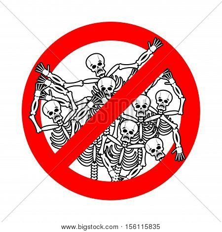 Do Not Sin. Stop Sinners. Dangers Red Sign Dead. Skeletons Are Prohibited. Road Signs Payment For Vi