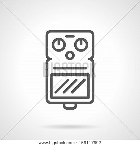 Guitar drive pedal. Tool for make an effects. Professional musical equipment for concerts, recording studio. Single black line style design vector icon.