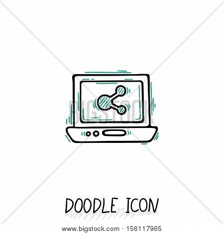 Doodle Laptop Icon illustration. Compact PC, netbook, ultrabook.