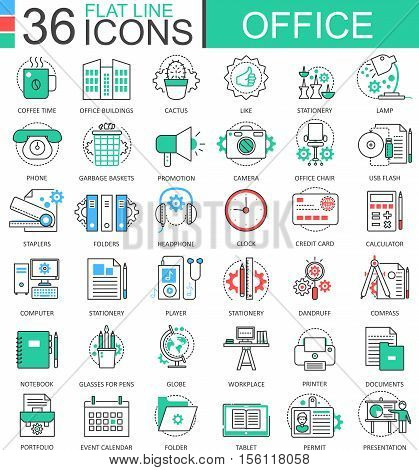 Vector Office modern color flat line outline icons for apps and web design