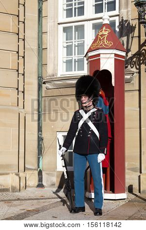 Copenhagen, Denmark - November 11, 2016: A royal life guard at Amalienborg Palace