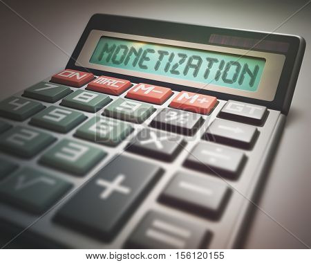 Solar calculator with the word MONETIZATION on the display. 3D illustration concept image of Business and Finance.