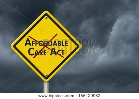 Repealing and replacing the Affordable Care Act healthcare insurance Yellow warning highway road sign with words Affordable Care Act crossed out with stormy sky background 3D Illustration
