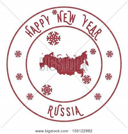 Retro Happy New Year Russian Federation Stamp. Stylised Rubber Stamp With County Map And Happy New Y