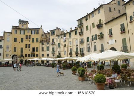Lucca Anfiteatro colorful square in Tuscany Italy