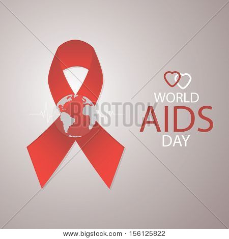 Red ribbon Aids Awareness. World Aids Day concept. Vector illustration.