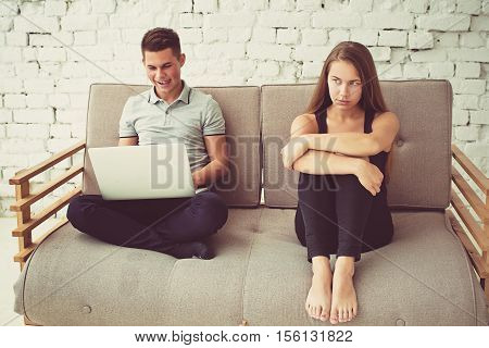 Man Is Playing Computer Game His  Girlfriend Is Angry For Him