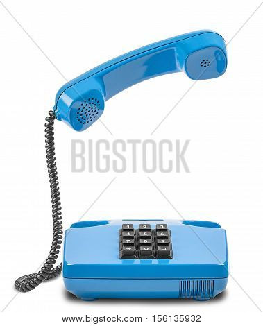 Blue phone with handset in air and shadow on white background