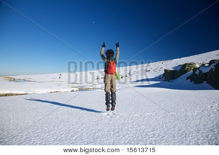 Flying Winter Hiking Woman
