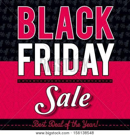 Black friday sale banner on patterned background vector illustration