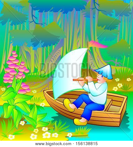 Little boy is sailing in the fairyland forest, vector cartoon image.