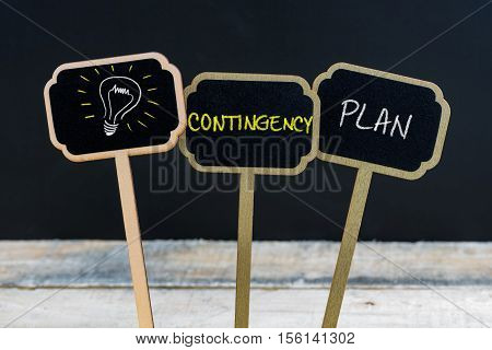 Concept Message Contingency Plan And Light Bulb As Symbol For Idea