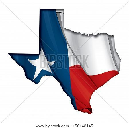 Texas Cut Out Map Inner Shadow With Flag Underneath