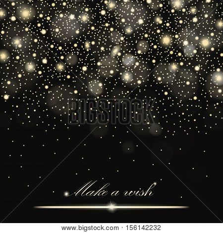 Vector Gold Glitter Particles Background Effect For Luxury Greeting Rich Card. Sparkling Texture. St