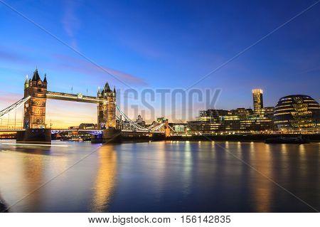 Tower Bridge at dusk London United Kingdom