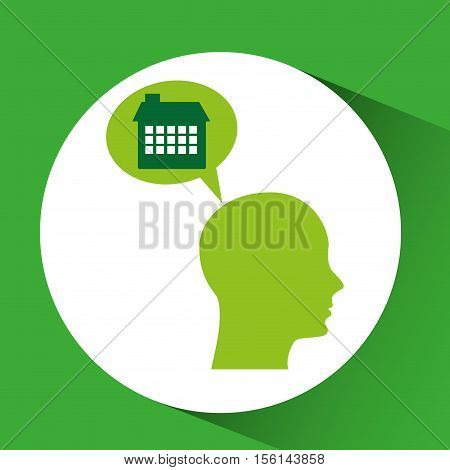 silhouette green head facture ecology vector illustration eps 10