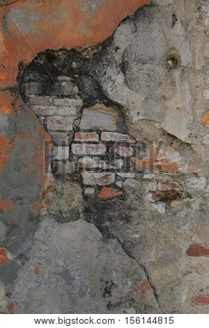 Rough textured cracked plaster on brick photo background