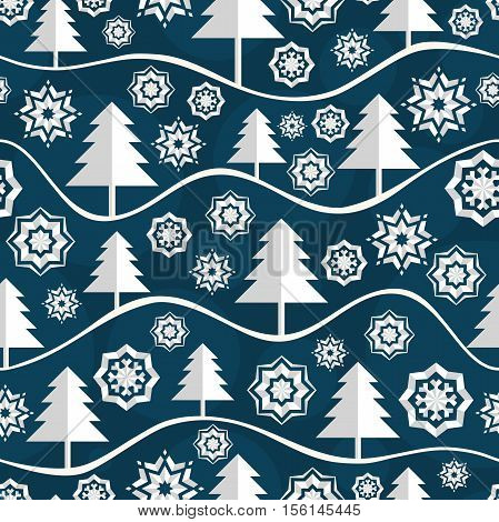 Seamless pattern for Merry Christmas and New Year. Greeting card. Seamless pattern of Christmas snowflake. Snow-covered wood. Snowy white spruce. Christmas trees and snowflake. Volumetric snowflake.