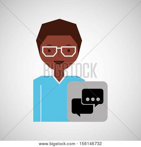 girl afro bubble speech icon vector illustration eps 10