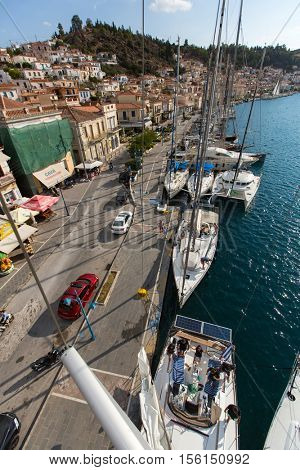POROS, GREECE - OCT 6, 2016: Shot from the top of the mast during in sailing regatta 16th Ellada Autumn 2016 among Greek island group in the Aegean Sea, in Cyclades and Saronic Gulf.